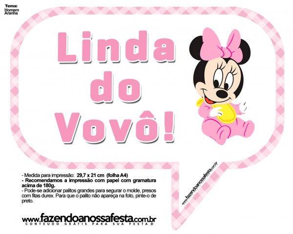 Plaquinhas Divertidas Minnie Baby Festa Minnie Rosa Simples