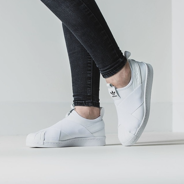 adidas white superstar slip on trainers