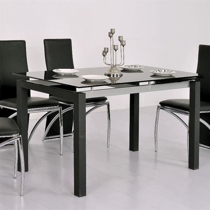table repas extensible en verre noir 120 200 paros table manger pas cher deco int rieur. Black Bedroom Furniture Sets. Home Design Ideas