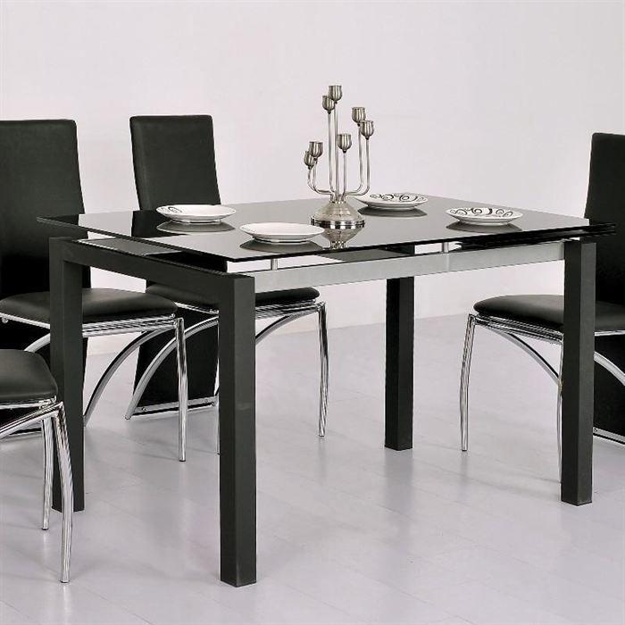 table repas extensible en verre noir