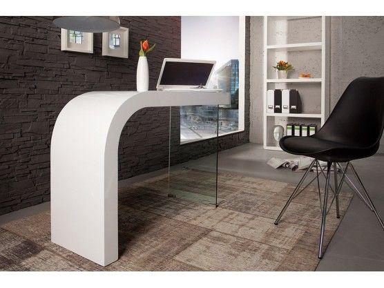 Bureau Design Blanc Laque Et Verre Timmen 120 Cm Bureau