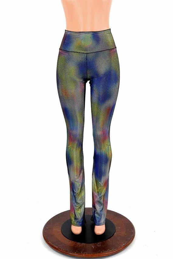 a82d2d224e Womens Boot Cut Velvet Oil Spill Holographic High Waist Spandex Leggings  Yoga Soft Cuddly Cozy Plush