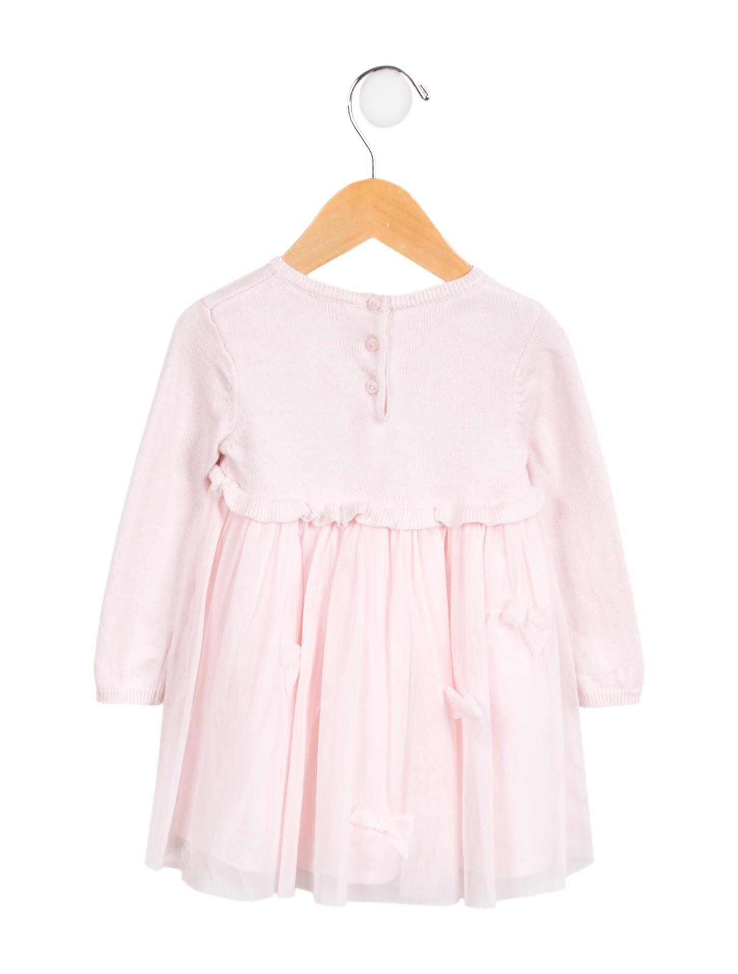 fe8f7afbdee5 Lili Gaufrette Girls  Tulle Bow-Accented Dress