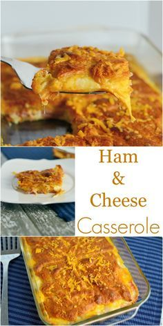 Ham and Cheese Breakfast Casserole Recipe- Looking for easy breakfast ideas? This no egg breakfast casserole recipe uses only 3 ingredients and bakes up in a snap! You can use any sandwich meat or cheese you have in the fridge and croissant dough. www.savoryexperiments.com