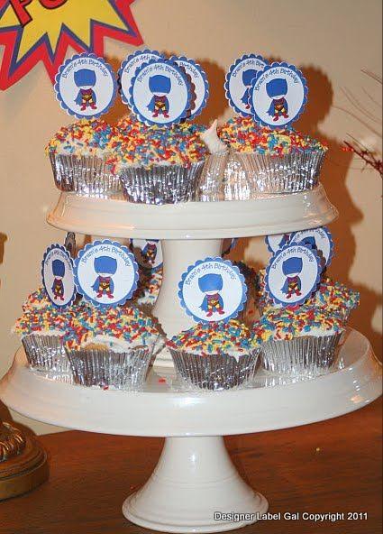 Super Hero Birthday - Cupcake Toppers by DesignerLabelGal