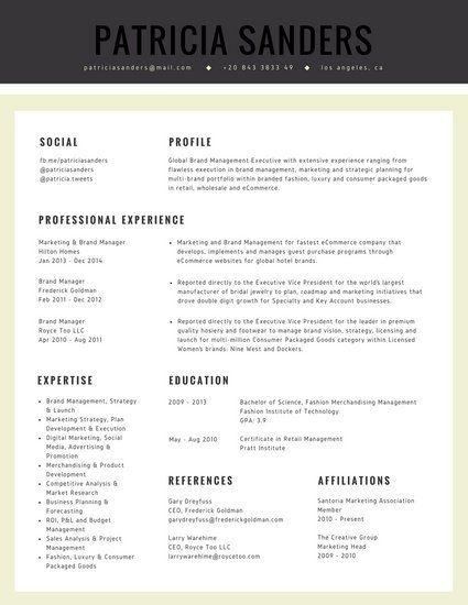 Cream Grey Marketing Professional Corporate Resume WORK