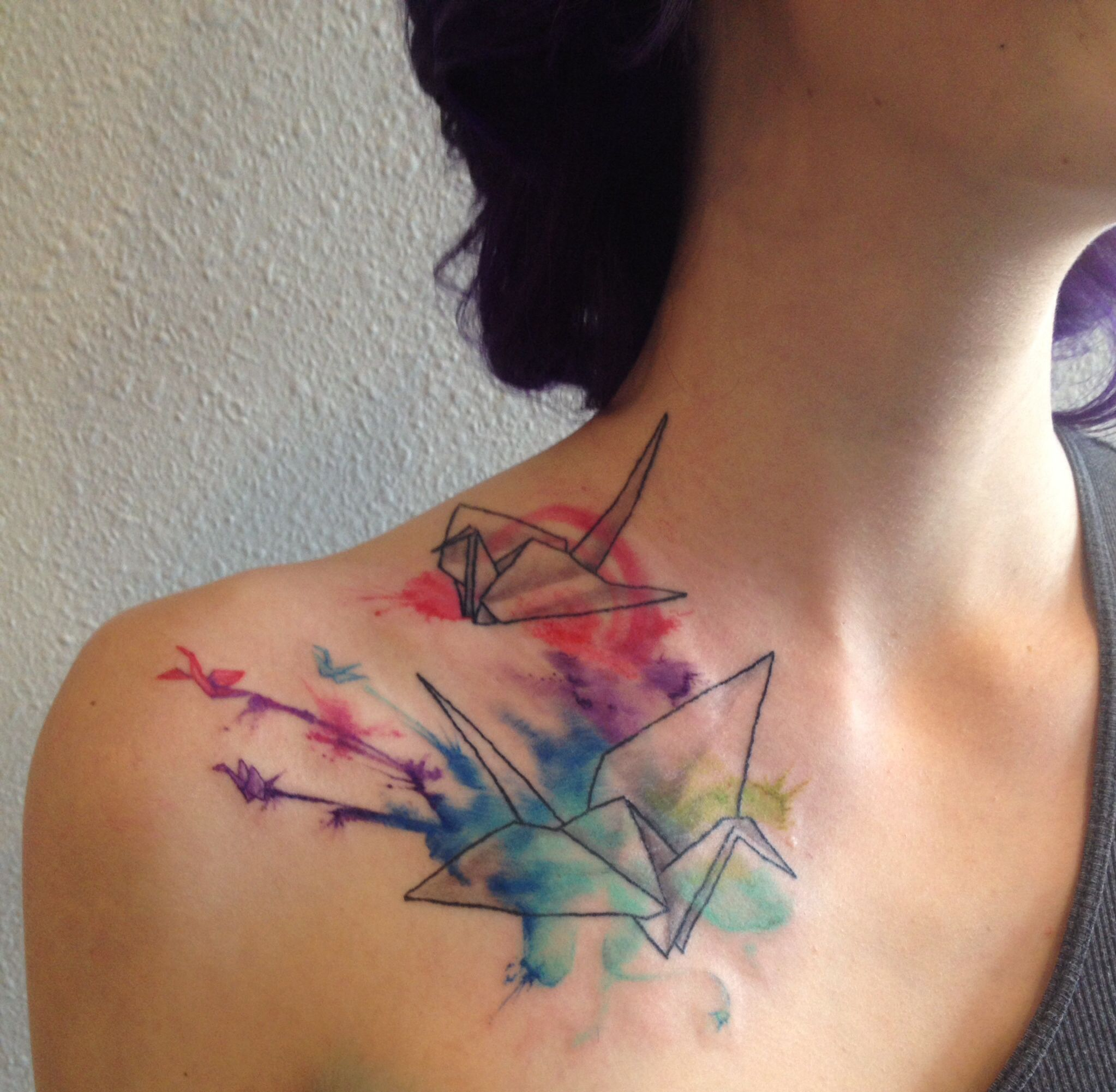 My Watercolor Origami Paper Crane Tattoo On Shoulder From Nevermore Tattoos