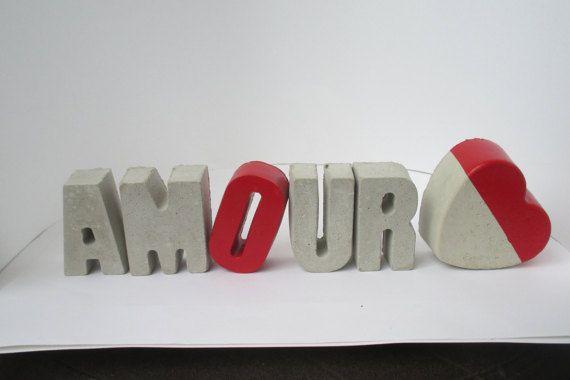 Amour Love Concrete Letters French Word Decor By LeCimentBleu