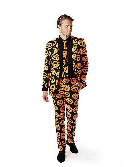 Adult Black Jack-O-Lantern Oppo Suit Halloween Pumpkin Mens Fancy Dress Outfit