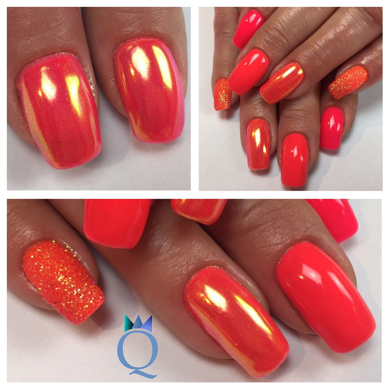 gelnails #nails #neonpink #neon #coral #neonorange #glitter #chrome ...