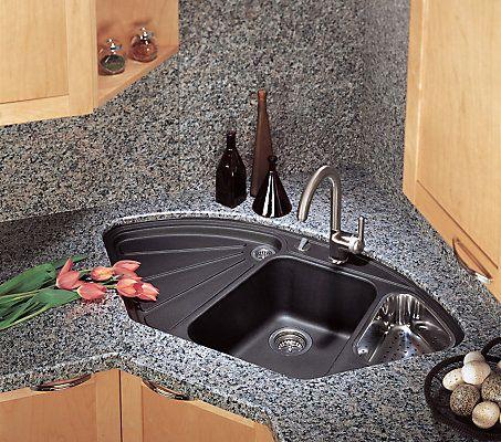 Silgranit Natural Granite Corner Style Topmount Sink Anthracite The Home Depot Cana Diseño De Cocina Comedor Diseño De Interiores De Cocina Topes De Cocina