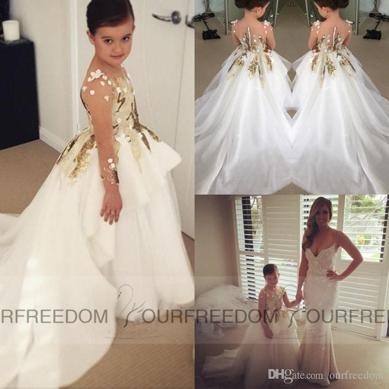 2016 white ivory flower girls dresses appliques lace long