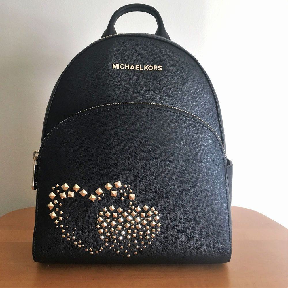 4f0fc47593b8 MICHAEL KORS Abbey Medium Backpack Black Leather Gold Studded Double Hearts  NWT  MichaelKors  BackpackStyle