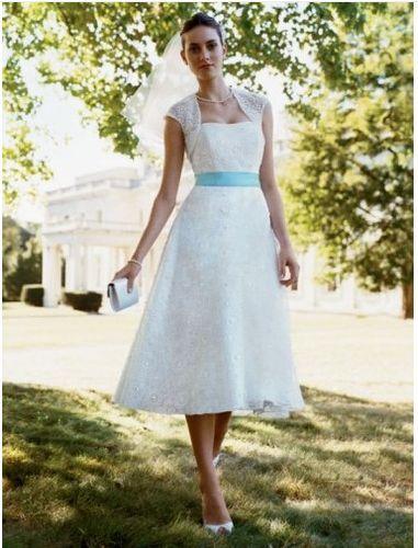 David\'s Bridal Tea Length Dress style # yp9983 | Pretty Wedding ...