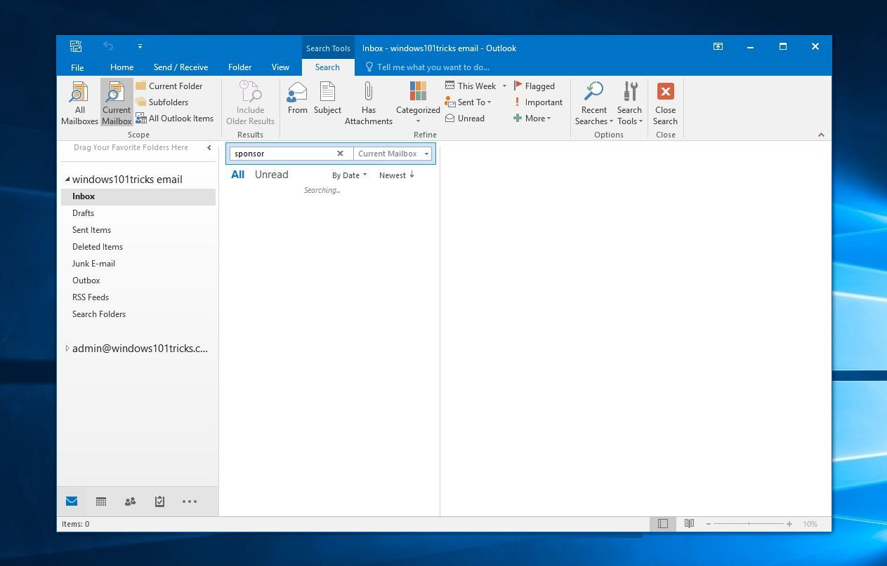 windows 10 office 2007 search not working