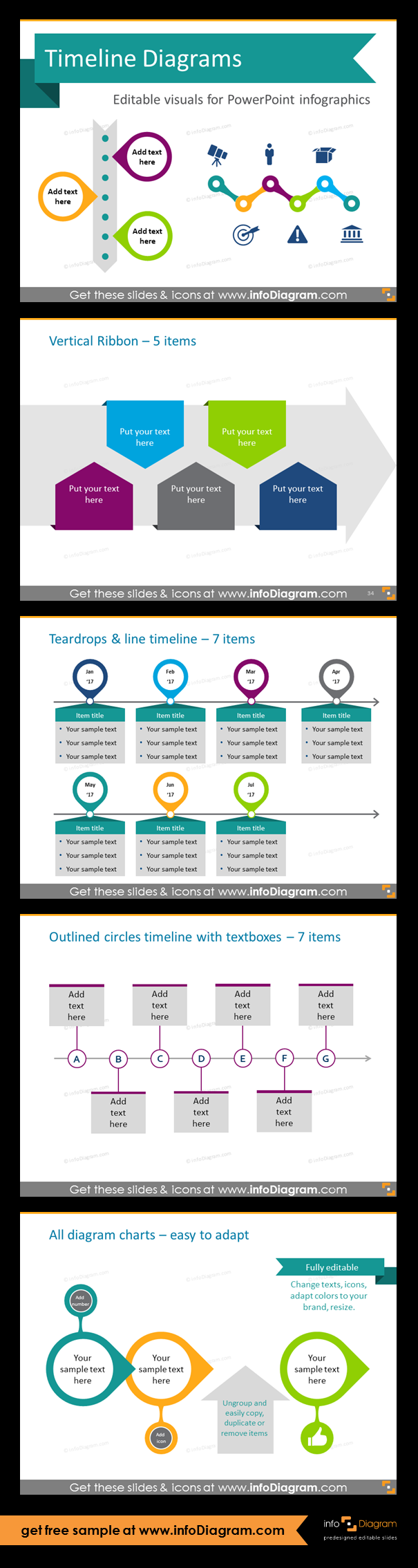 Template Slides For Timeline Diagrams And Time Infographics