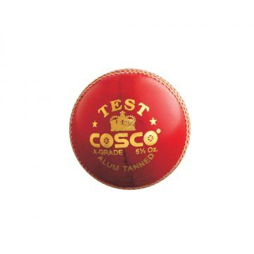 Product Description  The Cosco Test Cricket Ball Official Size and Weight.  Features  ALUM Tanned Cricket ball  4 Pcs. Construction  Official Size and Weight  TEST Grade Ball