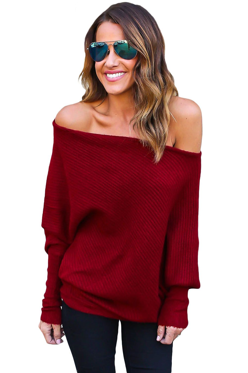 9bb2c3d09d98 Red Off Shoulder Bat Long Sleeves Loose Fit Sweater