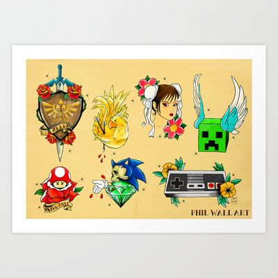 Videogame Themed Tattoo Flash Sheet Art Print by Phil Wall Art ...