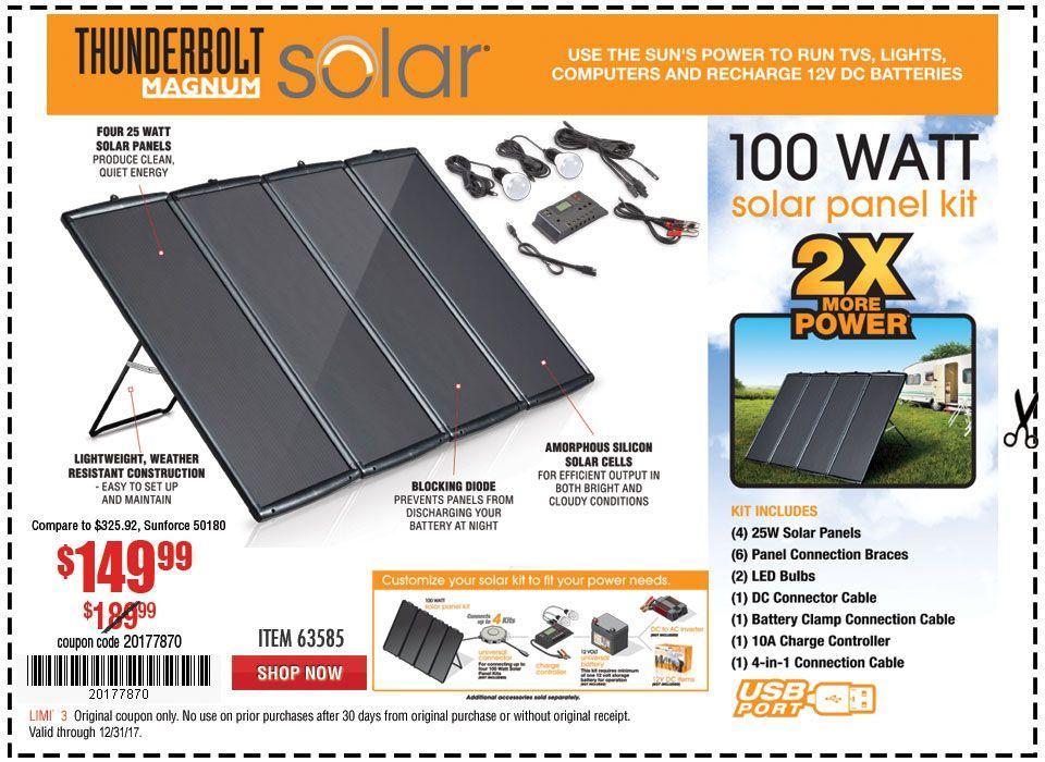 New Items 100 Watt Solar Panel Kit Solar, Solar panel
