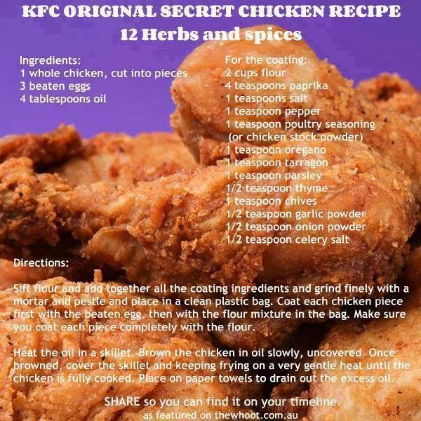 kfc original secret chicken recipe 12 herbs spices cooking
