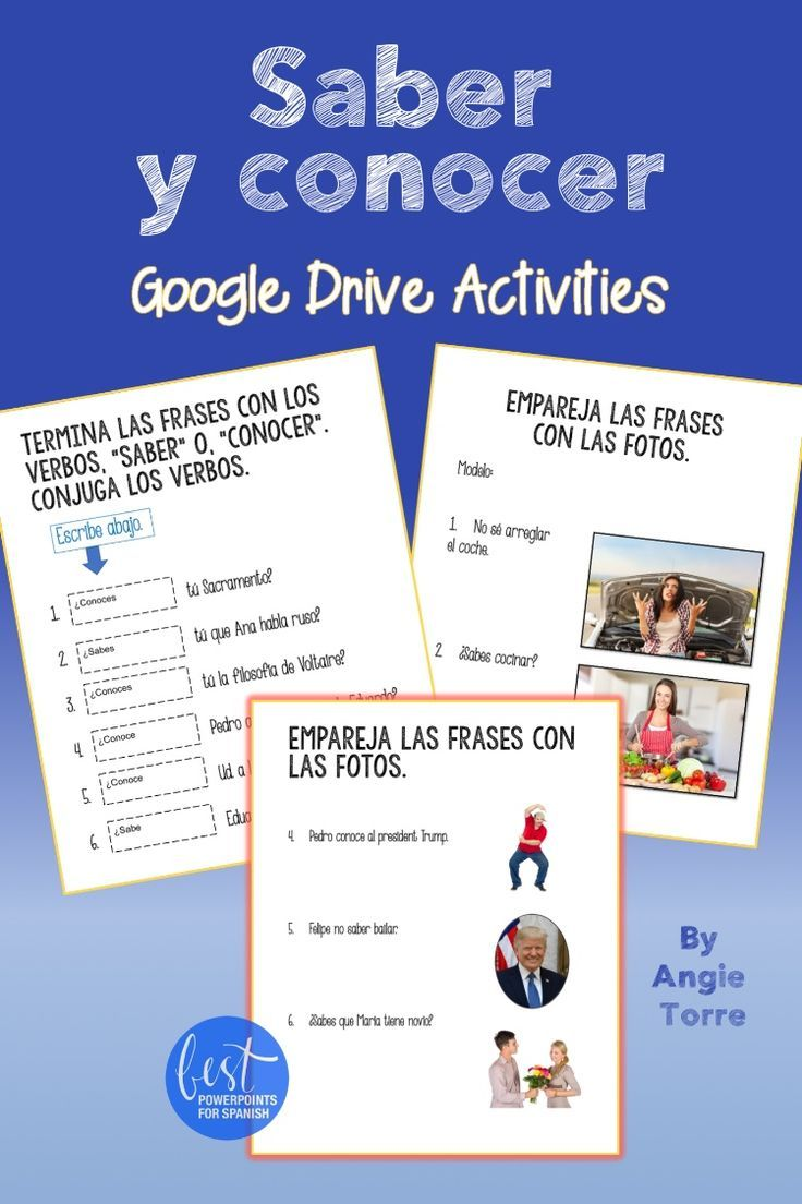 Spanish Saber Y Conocer Google Drive Activities Spanish