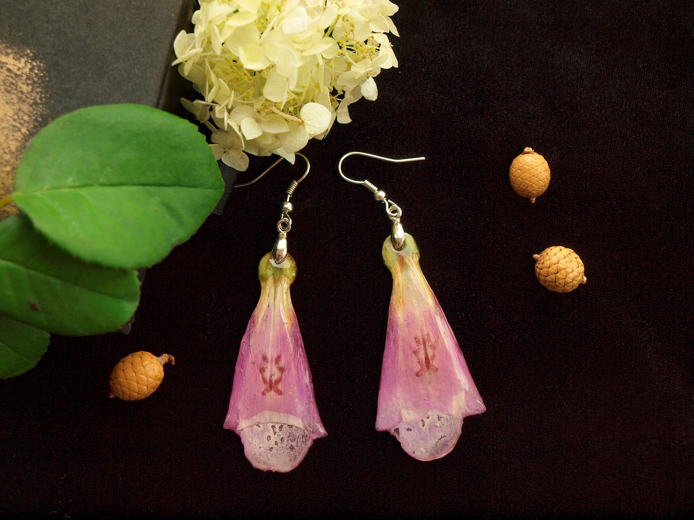 Real Flower Statement Dangle Resin Earrings