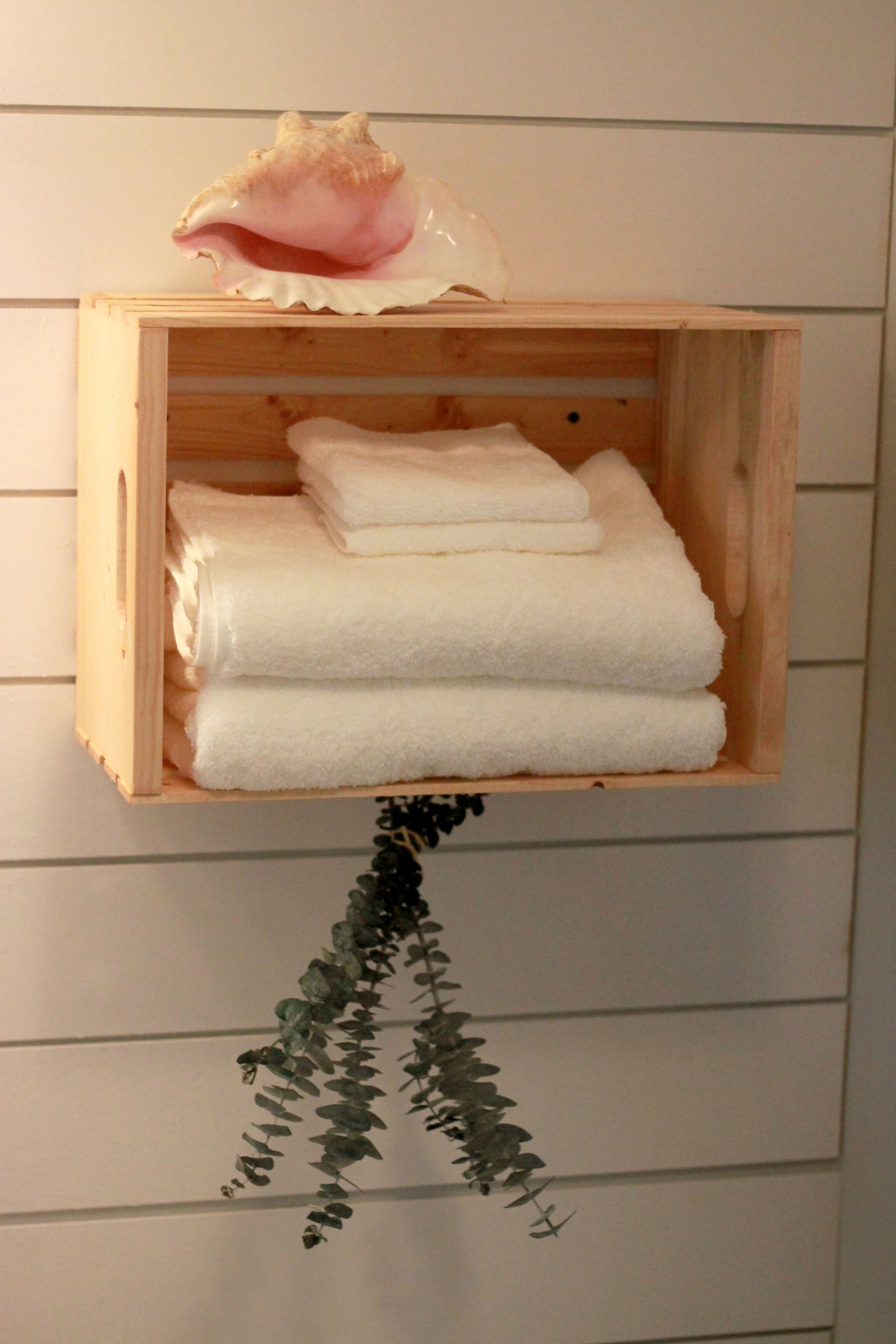 diy towel storage. DIY Crate Shelf For Towel Storage Diy