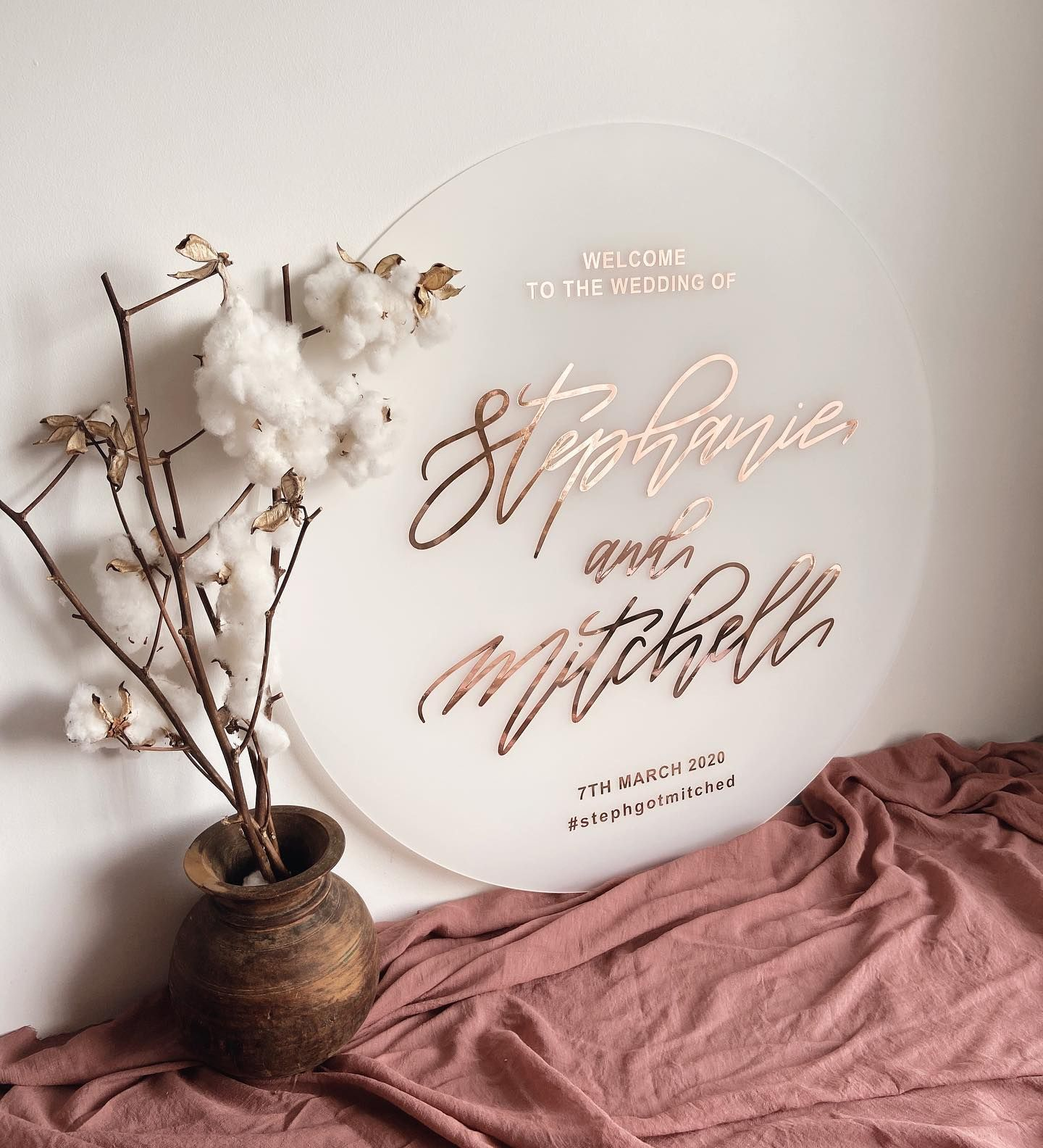 Frosted Acrylic + Rose Gold in 2020 Wedding signs