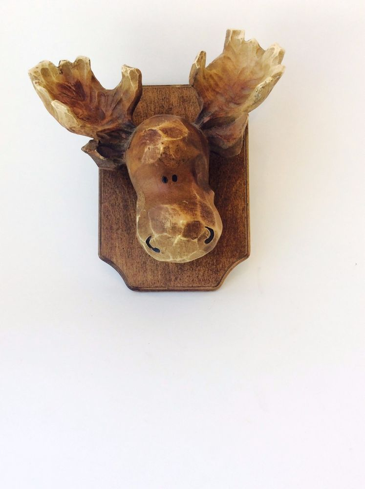 Vintage Mounted Carved Moose Head Plaque Wall Mount