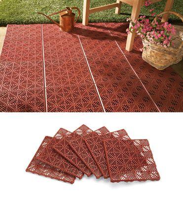 Interlocking Patio Tile Flooring 6 Pc