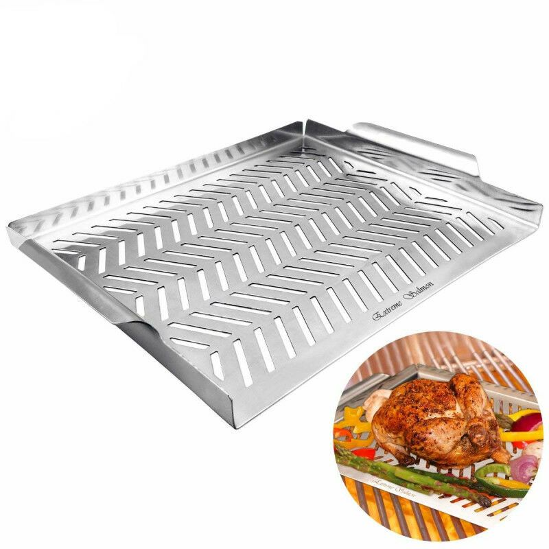 Details About Bbq Grill Pan Stainless Steel Rack Barbecue Grate