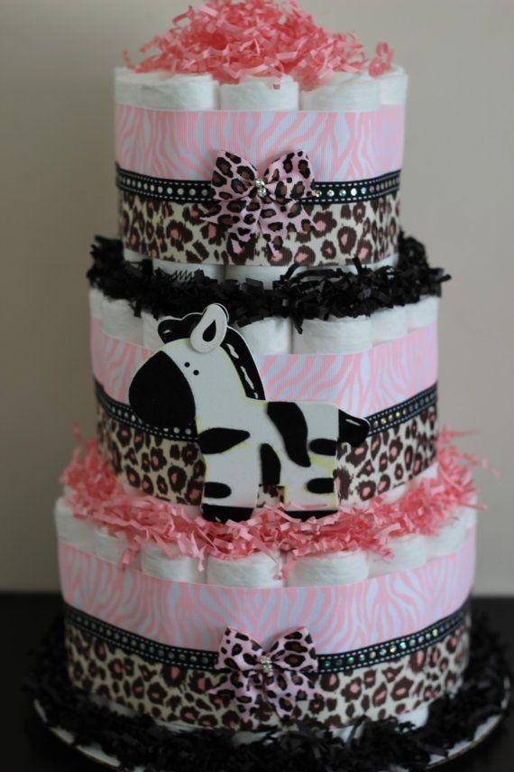 3 Tier Pink Safari Diaper Cake,Baby Girl Jungle Safari Baby Shower, Pink  Zebra