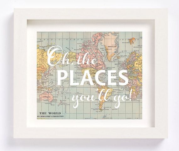 Printable - World Map Oh, the places youu0027ll go Dr Seuss vintage map - best of world map fabric bunting