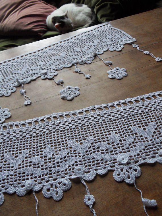 Voilage Dautrefois Fleurs Au Crochet Dart Blanc Crochet
