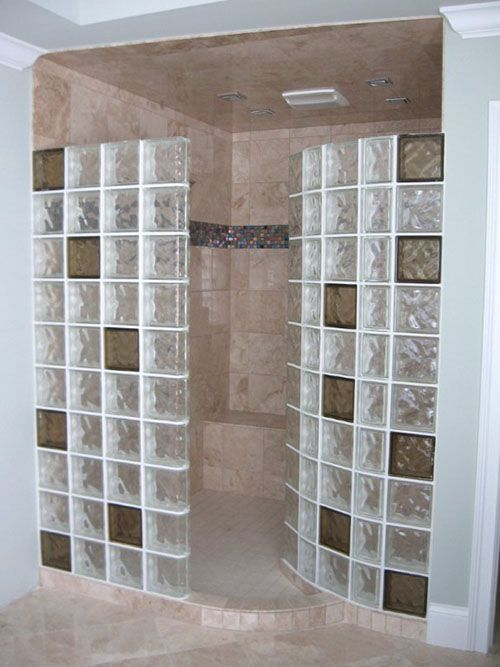 Colored Glass Blocks For A Doorless Walk In Shower Showers Without Doors Glass Block Shower Bathrooms Remodel