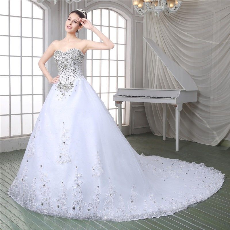 Gorgeous Ball Gown Strapless Corset Back Tulle Lace Crystal Beaded Wedding Dress