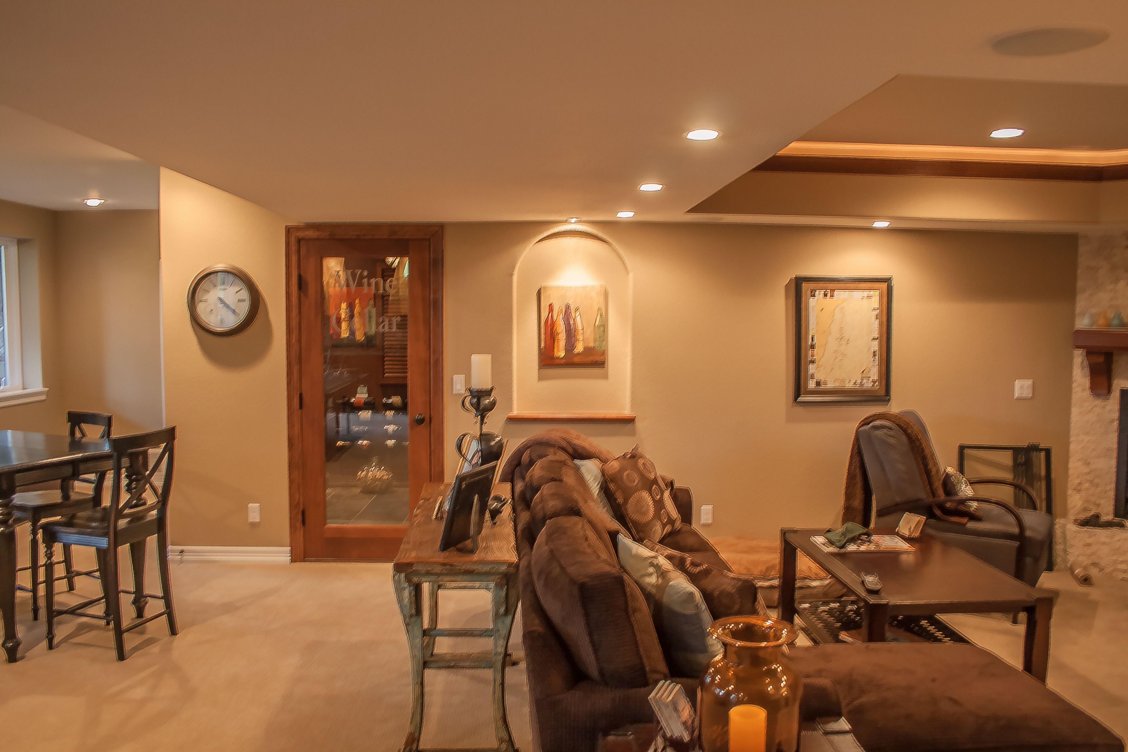 Basement featuring this stunning walk in wine cellar door with