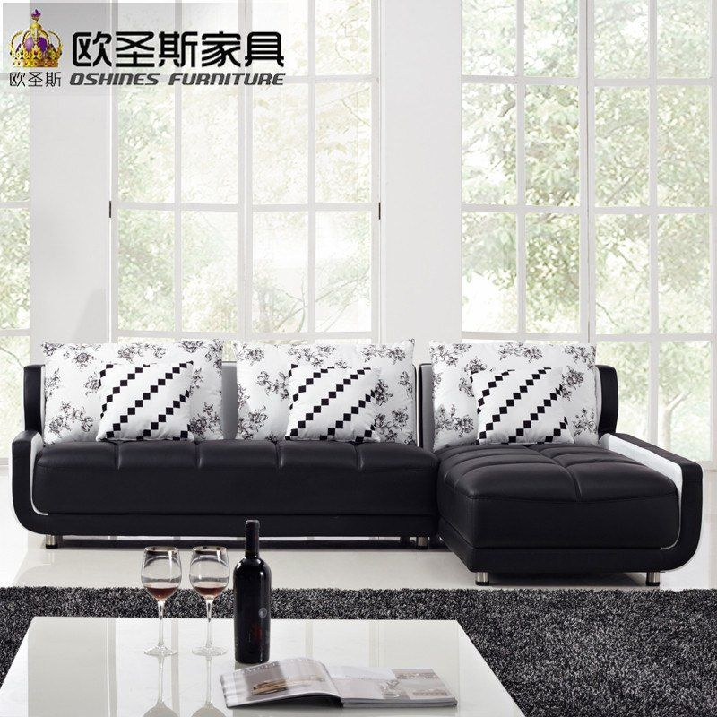 French Style New Sofa Design Black And White Small Size L Shaped Mini House Types Of Living Hall Chinese Leather Sofa Sets K001
