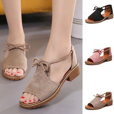 Womens Flats Lace Up Wedge Espadrilles Chunky Holiday Sandals Shoes Summer