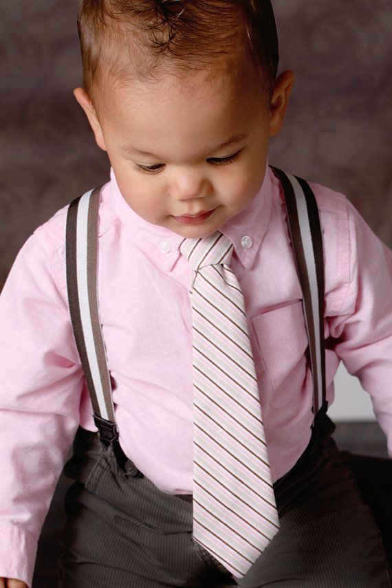 Infants pink & brown tie ($12) | Bebe | Pinterest | Caballeros y Bebe