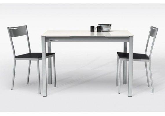 Refinada mesa extensible compass duplo con el mejor precio online, cocina moderna con encimera cristal, blnaco, oferta, cancio