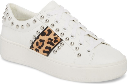 2e54657dad7 Steve Madden Bell Genuine Calf Hair Sneaker in Brown. Polished dome studs  trace the contours of a standout sneaker styled with a platform cupsole and  racing ...