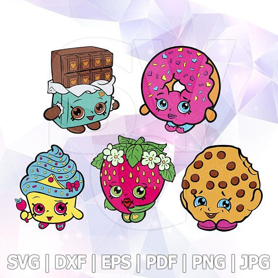 SVG Shopkins Layered Cut Files Cricut Design Silhouette Cameo Party Supply Decorations Strawberry Dlish Donut Kooky Cookie Cheeky Chocolate