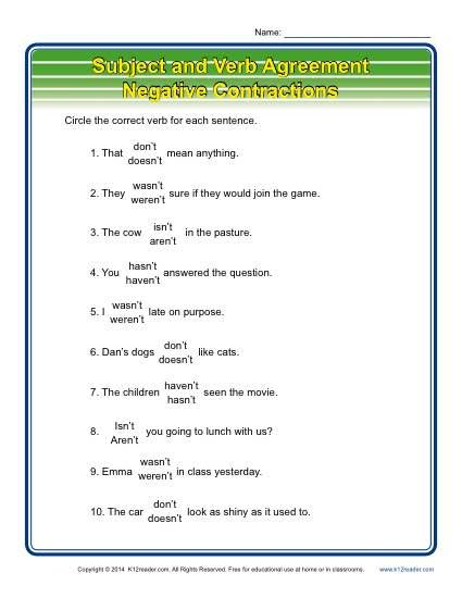 Negative Contractions | Subject verb agreement, Worksheets and ...