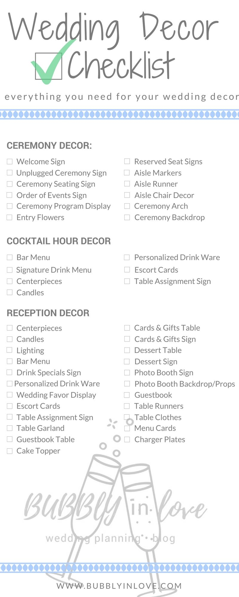 Wedding Decor Checklist Everything You Need To Plan Your Wedding Decor Wedding Decoration Checklist Wedding Reception Checklist Cocktail Hour Decor