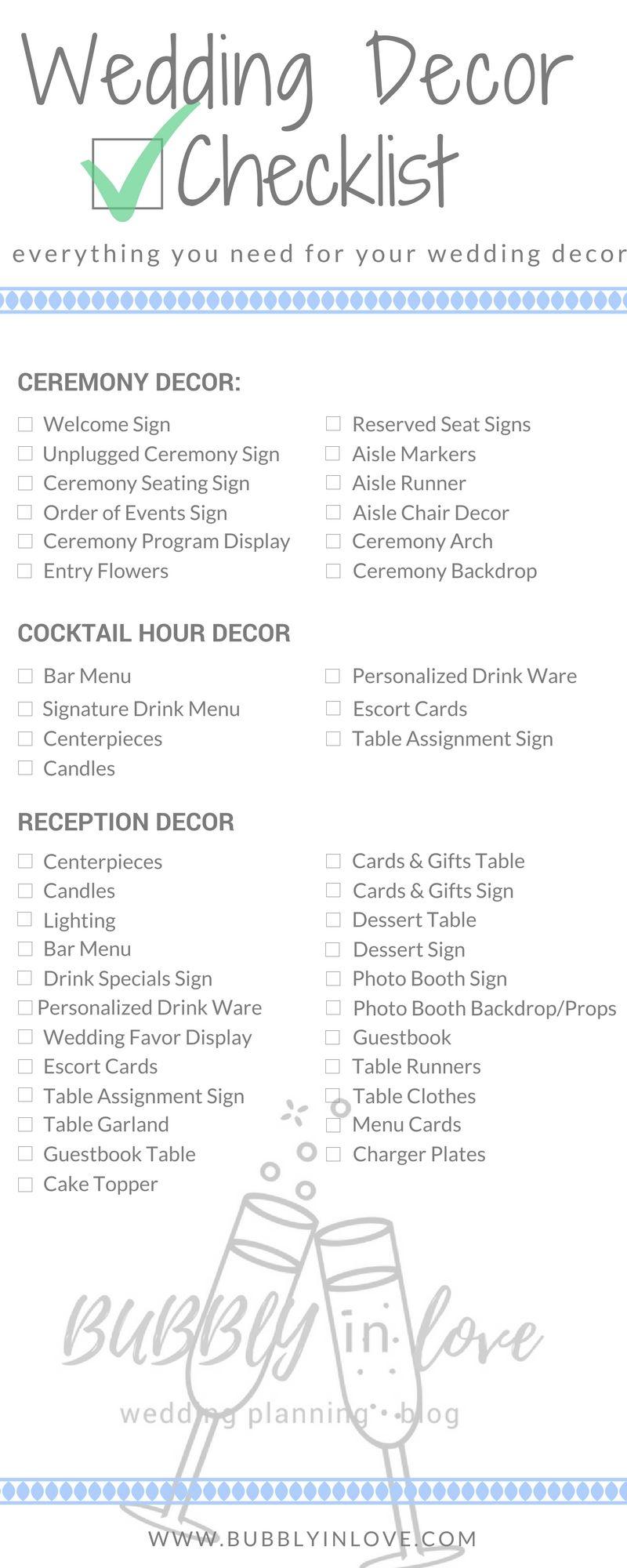 Wedding decorations list  Wedding Decor Checklist u Everything you Need to Plan your Wedding