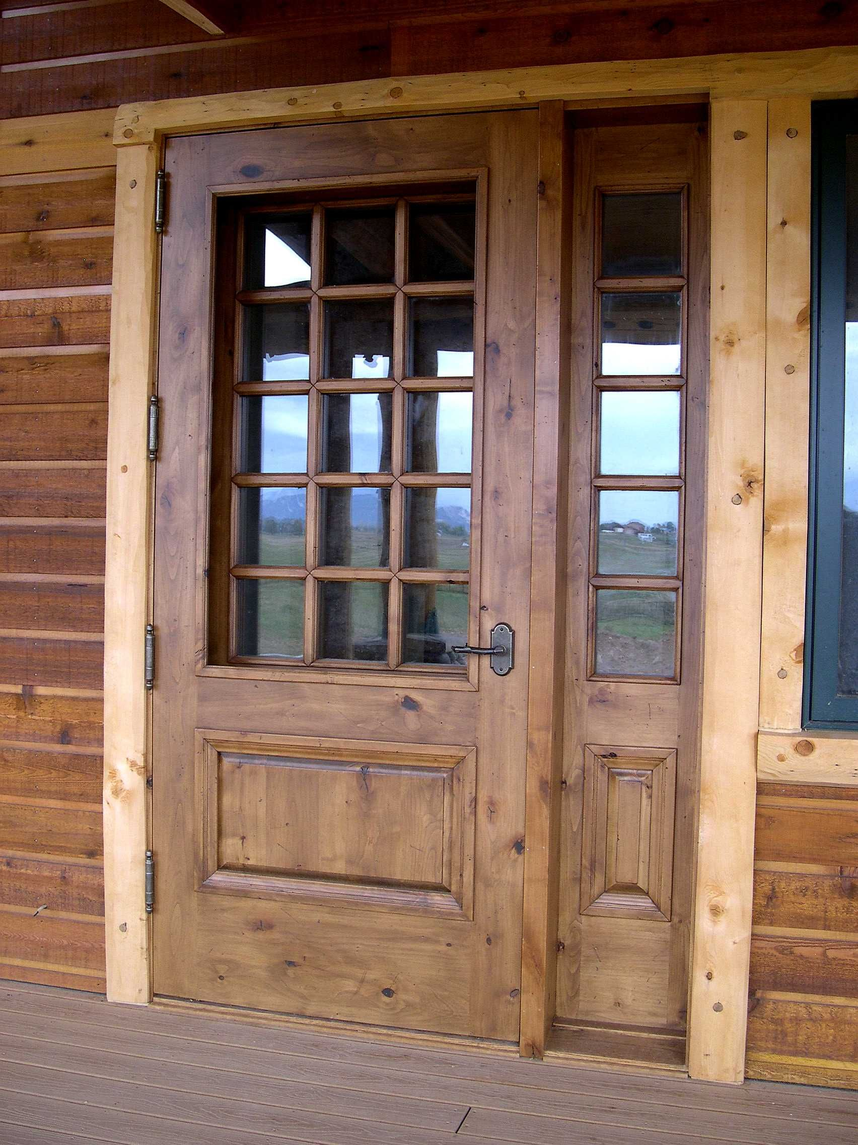 Great wooden unfinished half glass front rustic doors as for Half glass exterior door