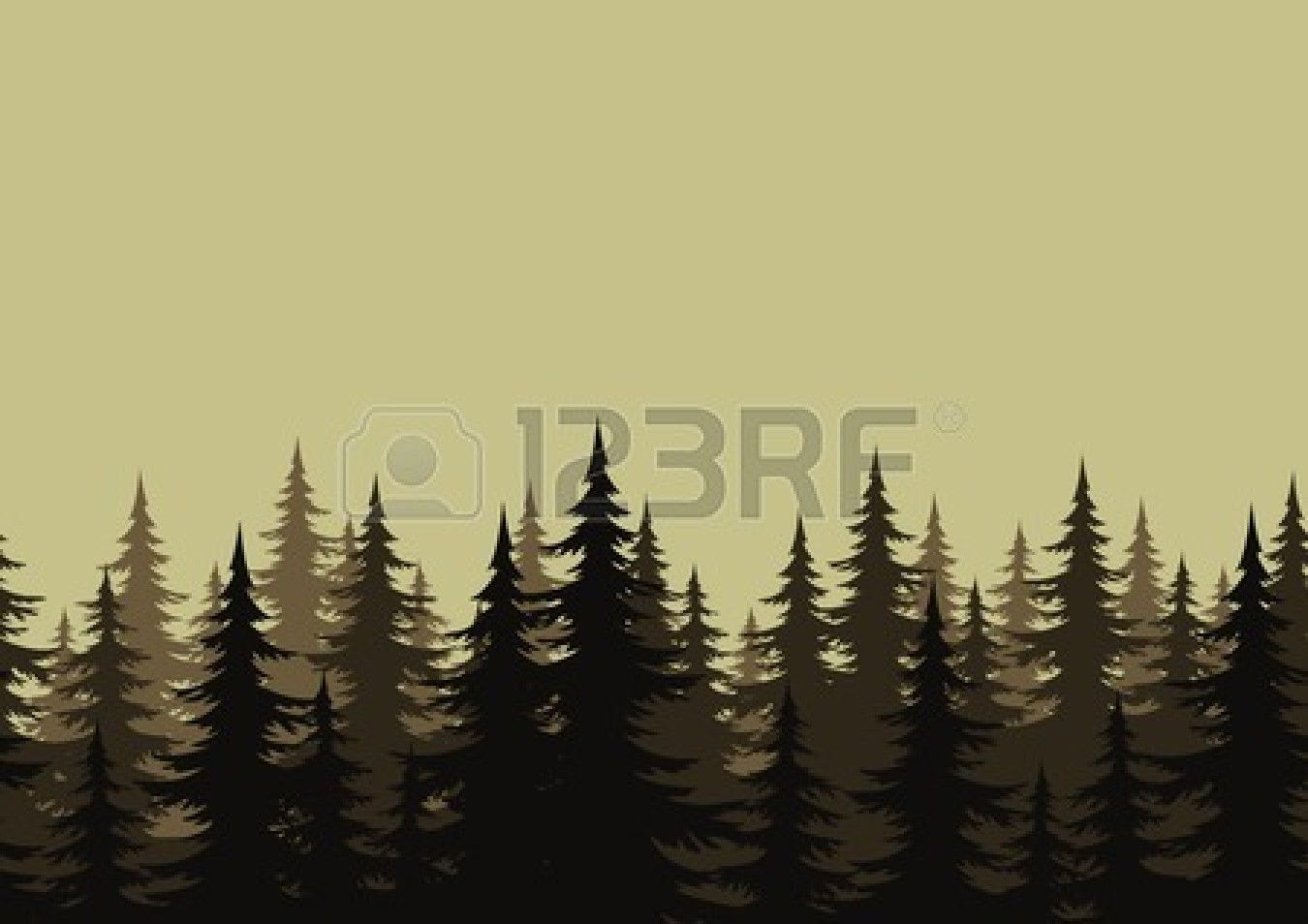 Seamless Background Landscape Night Forest With Fir Trees Silhouettes Forest Silhouette Tree Silhouette Night Forest