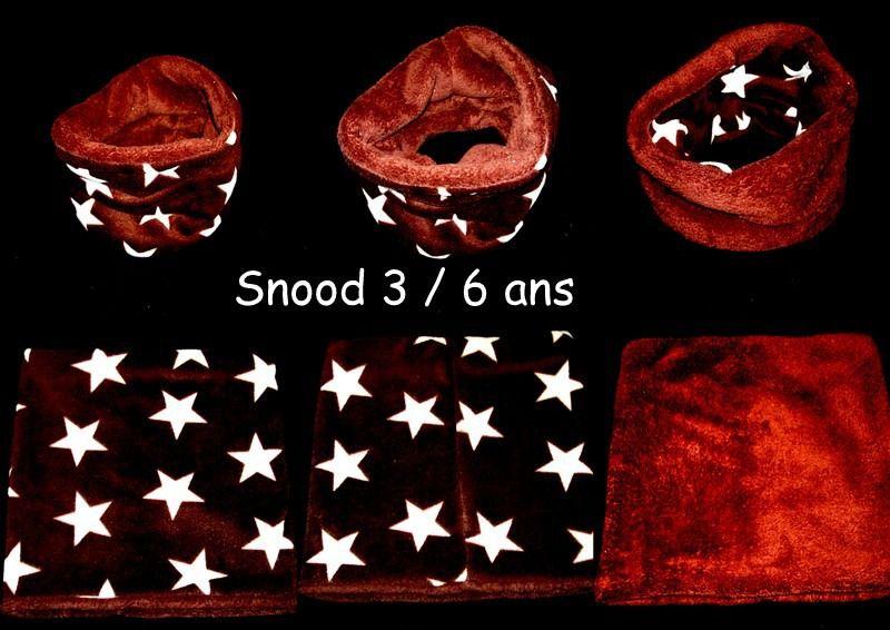 snood reversible étoiles marron et écru enfant taille unique 3 / 6 ans : Echarpe, foulard, cravate par babanou84
